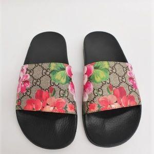 Gucci Pursuit Pool Slide Sandals GG Blooms Supreme